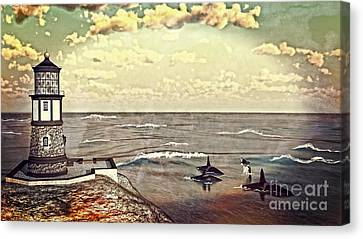 Lighthouse Lookout Canvas Print by Methune Hively