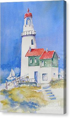 Canvas Print featuring the painting Lighthouse by Mary Haley-Rocks