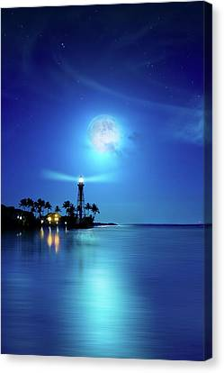 Lighthouse Moon Canvas Print by Mark Andrew Thomas