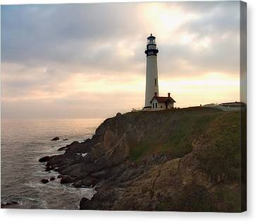 Lighthouse On The Cliff  Pigeon Point  California Canvas Print by George Oze