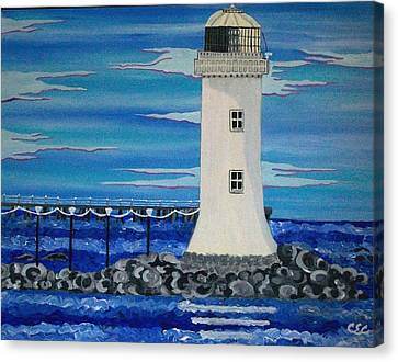 Canvas Print featuring the painting Lighthouse On The Shannon by Carolyn Cable