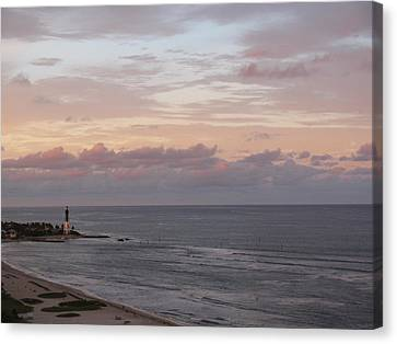 Lighthouse Peach Sunset Canvas Print