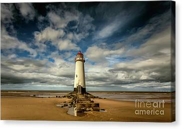 Lighthouse Point Of Ayre Canvas Print by Adrian Evans