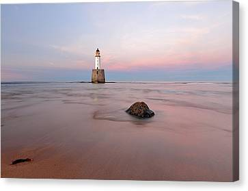 Canvas Print featuring the photograph Lighthouse Sunset Rattray Head by Grant Glendinning
