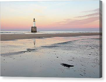Canvas Print featuring the photograph Lighthouse Sunset - Rattray Head by Grant Glendinning