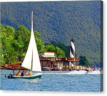 Lighthouse Sailors Smith Mountain Lake Canvas Print by The American Shutterbug Society