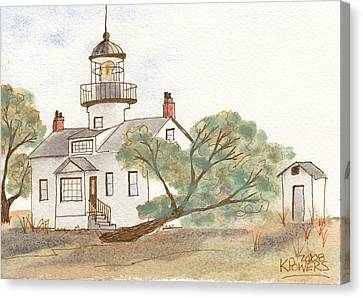 Lighthouse Sketch Canvas Print by Ken Powers