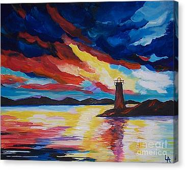 Canvas Print featuring the painting Lighthouse Storm by Leslie Allen