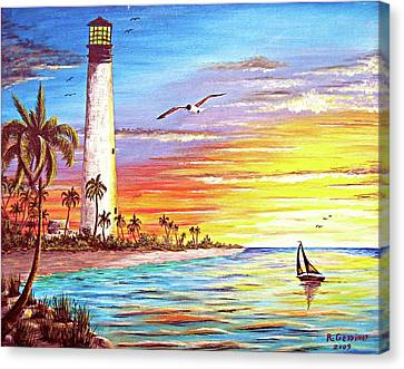 Lighthouse Sunrise Canvas Print by Riley Geddings