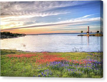 Lighthouse Sunset At Lake Buchanan Canvas Print