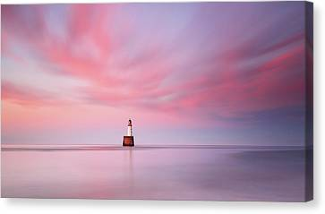 Canvas Print featuring the photograph Lighthouse Sunset by Grant Glendinning