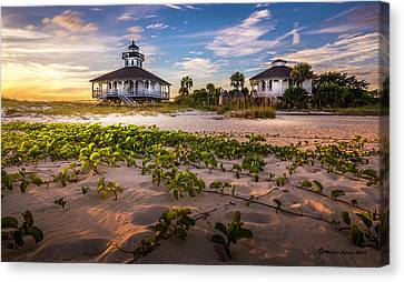 Lighthouse Sunset Canvas Print by Marvin Spates