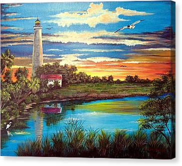 Lighthouse Sunset Canvas Print by Riley Geddings