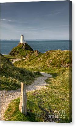 Hdr Landscape Canvas Print - Lighthouse Twr Mawr by Adrian Evans