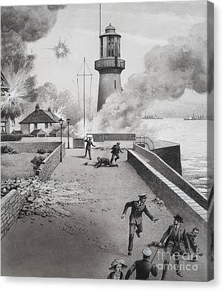 Lighthouse Under Bombardment Canvas Print by Pat Nicolle