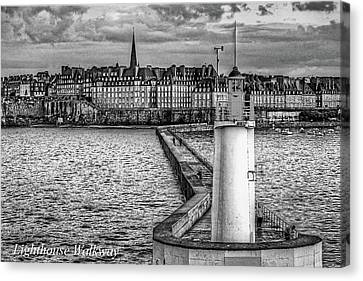 Canvas Print featuring the photograph Lighthouse Walkway by Elf Evans