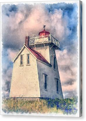 Lighthouse Watercolor Canvas Print by Edward Fielding