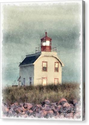 Lighthouse Watercolor Prince Edward Island Canvas Print by Edward Fielding