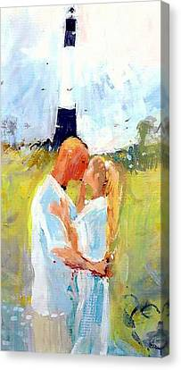 Canvas Print featuring the painting Lighthouse Wedding by Gertrude Palmer