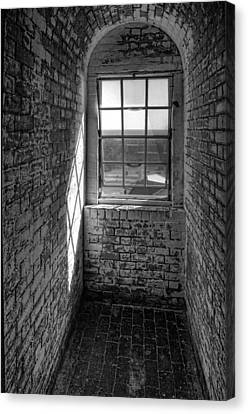 Lighthouse Window  Black And White Canvas Print by Peter Tellone