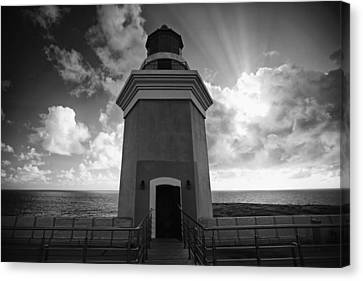 Puerto Rico Canvas Print - Lighthouse With Dramatic Sky by George Oze