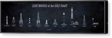 Lighthouses Of The Gulf Coast Blueprint Canvas Print by Daniel Hagerman