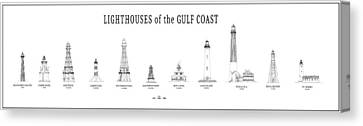 Lighthouses Of The Gulf Coast Canvas Print by Daniel Hagerman