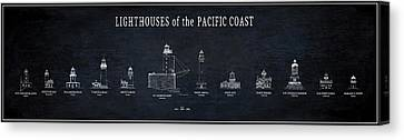 Lighthouses Of The Pacific Coast Blueprint Canvas Print by Daniel Hagerman