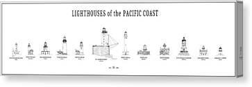 Lighthouses Of The Pacific Coast Canvas Print by Daniel Hagerman