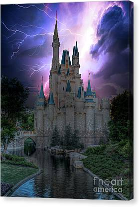 Lighting Over The Castle Canvas Print