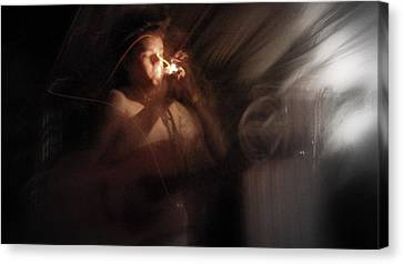 Canvas Print featuring the photograph Lighting The Cigarette by Karen Musick