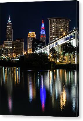 Canvas Print featuring the photograph Lighting Up Cleveland by Dale Kincaid