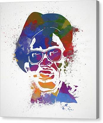 Lightning D Canvas Print - Lightnin Hopkins Paint Splatter by Dan Sproul