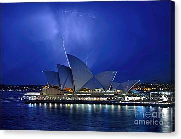 Lightning Above The Opera House Canvas Print by Kaye Menner
