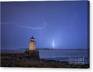 Lightning And The Lighthouse Canvas Print by Scott Thorp