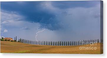 Lightning D Canvas Print - Lightning At Agriturismo Poggio Covili In The Tuscany by Henk Meijer Photography