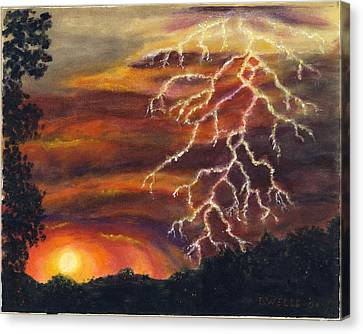 Lightning At Sunset Canvas Print by Tanna Lee M Wells