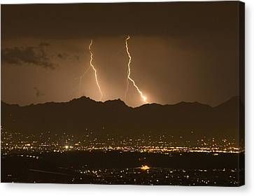 Lightning Bolt Strikes Out Of A Typical Canvas Print by Mike Theiss