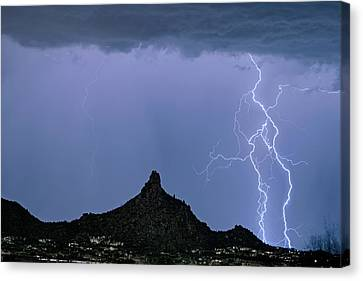 Lightning Bolts And Pinnacle Peak North Scottsdale Arizona Canvas Print