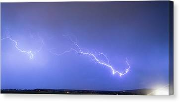 Lightning Bolts Coming In For A Landing Panorama Canvas Print by James BO  Insogna