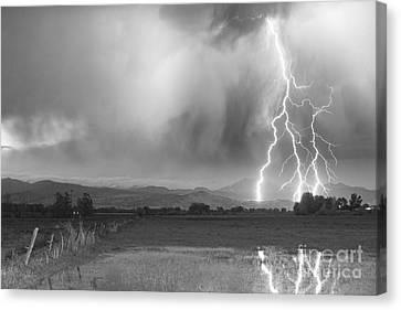 Lightening Canvas Print - Lightning Bolts Striking Longs Peak Foothills 6bw  by James BO  Insogna