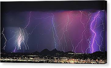 Lightning City Canvas Print by James BO  Insogna