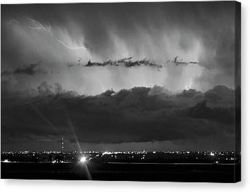 The Lightning Man Canvas Print - Lightning Cloud Burst Black And White by James BO  Insogna