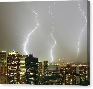 Lightning Dance Canvas Print by Photography by Steve Kelley aka mudpig