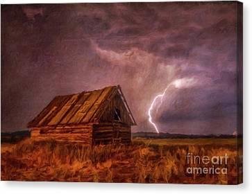 Log Cabin Interiors Canvas Print - Lightning Landscape By Sarah Kirk by Sarah Kirk