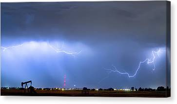 Canvas Print featuring the photograph  Lightning Michelangelo Style Panorama by James BO Insogna