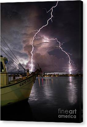 Cj Canvas Print - Lightning On The Capt. Cj by Jon Neidert