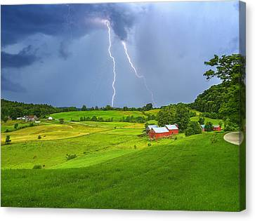 Lightning Storm Over Jenne Farm Canvas Print