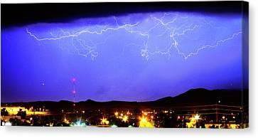 Lightning Over Loveland Colorado Foothills Panorama Canvas Print by James BO  Insogna