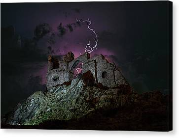 Lightning Over Mow Cop Castle Canvas Print by Four Shires Rambler